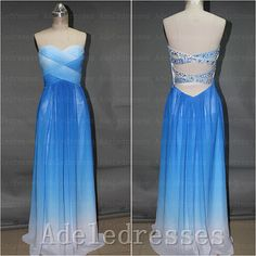 Open Back Royal Blue Ombre Prom Dress 2014,Custom Made Long Ombre Prom Dresses,A Line Sweetheart Evening Prom Gown,Sexy Graduation Dress by Adeledresses