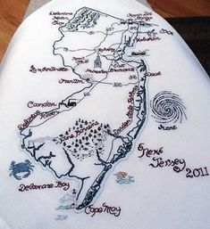 embroidered Map of New Jersey. such a clever idea for commemorating any much-loved state. perhaps this would be a great way to remember a trip through a state or special events that have happened there.  My home state!