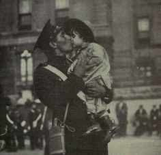 A Canadian soldier kisses his daughter before he goes off to war, WWI