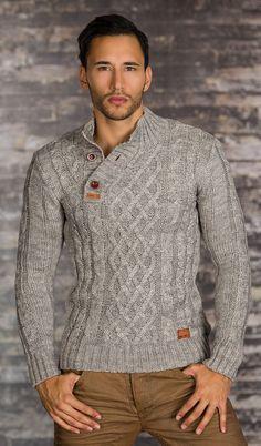 Pull Homme gris en tricot par UnCadeauUnSourire.com