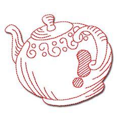 tea pot embroidery pattern