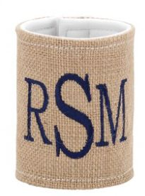 Summer's on the way and it's time to keep that drink cool! Out stylish burlap coozie has a velcro fastener so it fits most cans or bottles. Free monogramming!