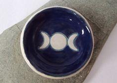 Ceramic Pottery Triple Moon Goddess Dish Bowl by RowanSongCrafts