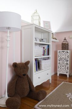 Pink and White Romantic Girl's Nursery-Love the bookcase