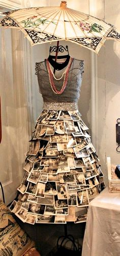 Fantastic way to display photos and vintage jewelry! Of course, I would go all blingy and have rhinestone brooches in there with the photos.