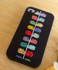 BLACK Cross stitch iphone case kit, fits iphone 4/4s on Etsy, $15.00