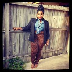 Denim shirt, leopard pant, black blazer plus size