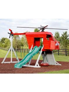 Amish Made Red Helicopter Playground Set Kids Backyard Playground, Backyard For Kids, Diy For Kids, Children Playground, Playground Ideas, Kids Outdoor Play, Outdoor Fun, Jungle Gym, Play Houses