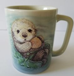Otagiri Sea Otter Coffee Mug Natures Endangered Vintage Fraser Collection Japan #Otagiri