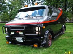 The GMC (vandura) used by the A-Team, with its characteristic red stripe, black and red turbine mag wheels, and rooftop spoiler, has becom. Armadura Ninja, A Team Van, Gmc Vans, Chevy Van, Custom Vans, The A Team, Ford Transit, Motorhome, Favorite Tv Shows