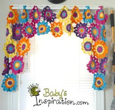 This valance is made with 100% cotton yarn. This is a Free pattern from Once Upon A Pink Moon. Here is the link to the pattern: