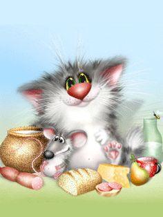 A CAT & MOUSE HAVING A PICNIC