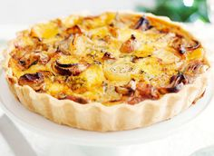 Roasted onion and two-cheese tart