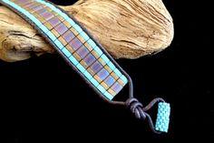 Pelle marrone Single Wrap bracciale con perline Tila di beadbound