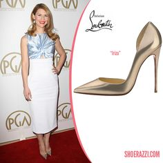 Claire Danes in Christian Louboutin Iriza Metallic Gold Pointed-Toe Pumps - ShoeRazzi