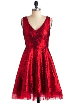 Striking Gold Dress in Red, @ModCloth