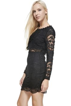 THE CLOTHING COMPANY 'Black Widow Spider' Dress - This stunning long sleeve dress features a peek-a-boo open cut in the front which exposes just hint of your stunning waistline that you worked so hard to define. With delicate black lace all over, this mini dress has just enough demure sex appeal. We wouldn't recommend it for a funeral unless you're like a Black Widow spider intent on snaring your next victim when they least expect it. Hand wash in cold water, do not bleach, hang dry.