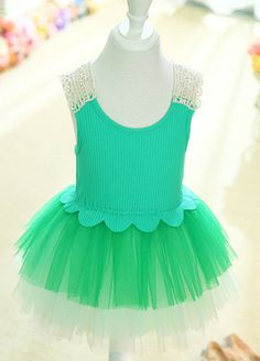 Round Collor Green Knee Length Flower Girl Dress