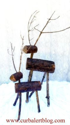 Outdoor christmas decorating reclaimed wood reindeer for High end catalogs for home decor