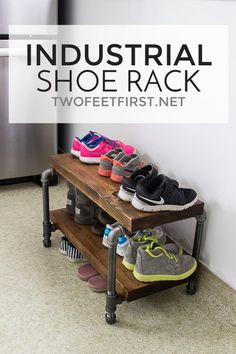 DIY Industrial Shoe Rack with pipe and wood Do you need a way to organize all of your shoes? How about a DIY industrial shoe rack made from wood and pipe? This tutorial could be your solution!