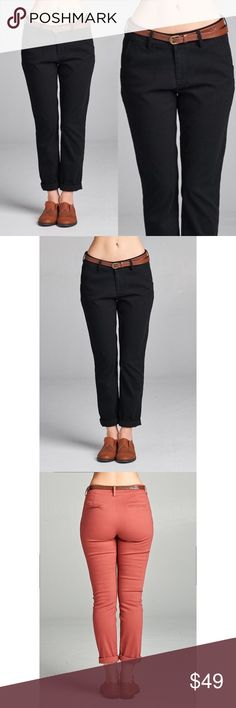 🆕 Twill Crop Pants - Black Super cute & super comfy! Has pockets & comes with the belt. These are PERFECT for fall! 97% Cotton 3% Spandex. No trades. Last pic is to show the back. Kyoot Klothing Pants Ankle & Cropped