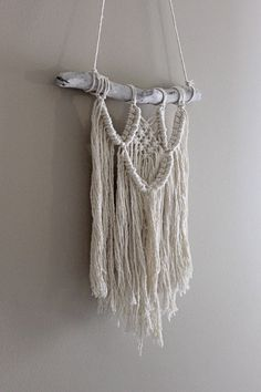 Willow Macrame Wall Hanging on Driftwood by May Hunt with natural cotton rope