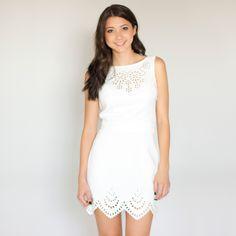 White Scallop Hem Dress #laser #cutout #sleeveless #partydress #cocktaildress