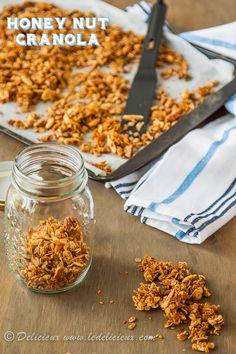 Honey Nut Granola recipe. So delicious and customizable! We added hazelnuts and cranberries. I could eat this every day.