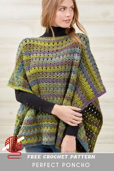 Perfect Crochet Poncho If you are looking for easy crochet poncho for beginners this free pattern project should be enough. Start and combine crochet shell. Poncho Au Crochet, Mode Crochet, Crochet Shell Stitch, Crochet Scarves, Crochet Clothes, Knit Crochet, Crochet Vests, Knitted Shawls, Granny Stripes
