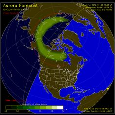 Im missing it! :( Tuesday's solar flare is producing some widepread aurora or Northern Lights. This site tracks aurora activity and shows what areas it is visible from -- in real time Aurora Forecast, Weather Alerts, See The Northern Lights, Aurora Borealis, Full Moon, Nerd, Clouds, Concept, Sky