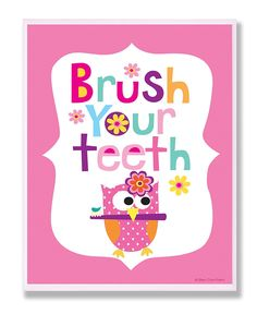 The Kids Room by Stupell Brush Your Teeth with Owl on Pink Back Background Rectangle Wall Plaque * Click image to review more details.