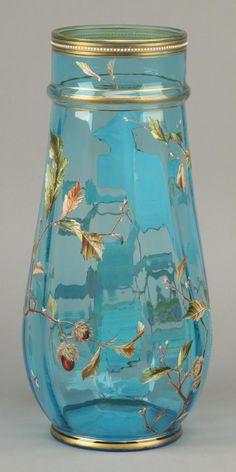 Moser turquoise blue art glass vase