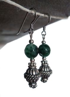 Saretta Bijoux #italian #handmade #jewelry - Green #agate and Bali #silver #earrings / #orecchini in agata verde e argento di Bali - 18,90 €