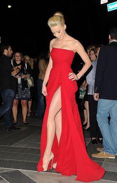 red dress, nude heels... bridesmaid