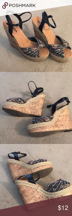 Stripped flower cork wedges Soda brand cork wedges in pretty good condition may possibly be a size 8 or 8 1/2. Soda Shoes Wedges