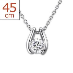 Fancy Real Sterling Silver Necklace with a Cubic Zirconia Stone