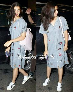 Airport Style File The cute Alia Bhatt was comfy yet stylish in her airport look as she left for Spain. Western Dresses, Western Outfits, Indian Outfits, Western Wear, Chic Outfits, Fashion Outfits, Fashion Hacks, Suit Fashion, Printed Kurti