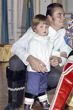 Prince Henrik of Denmark with Frederik both dressed in Greenlandic national costumes 1970