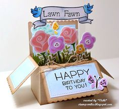 Stamp Smiles: Happy Birthday to You, Lawn Fawn! Origami Flowers Tutorial, Box Cards Tutorial, Happy Pop, Tarjetas Pop Up, Pop Up Box Cards, Card Boxes, Lawn Fawn Blog, Exploding Box Card, Lawn Fawn Stamps