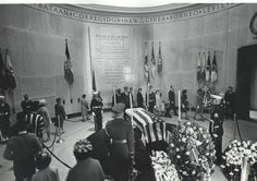 April 10, 1964 - General Douglas MacArthur lies in repose in the rotunda and more than 61,000 people pass by the half-opened casket during the 37 –hour viewing period held at the MacArthur Memorial, opened earier that year in the restored Norfolk City Hall and Court House at City Hall Ave. and Bank Street.