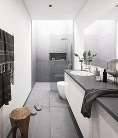 Dreaming of a new bathroom? Get inspiration and ideas for your new bathroom at HTH. Diy Bathroom, Modern Bathroom Decor, Small Bathroom, Bad Inspiration, Bathroom Inspiration, Grey Kitchen Designs, Vibeke Design, Futuristic Furniture, Minimalist Bathroom