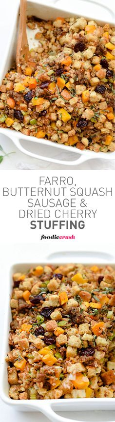 Whether you call it stuffing or dressing, this healthy version with butternut squash and farro is a favorite side dish | foodiecrush.com