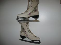 Ice Skates, up-cycled and hand-painted for your home decor. Womens size 8 ice skates painted in soft beige acrylic paint and sealed with a gloss