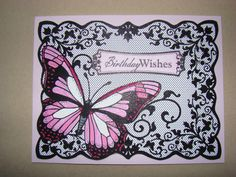 Items similar to Pink Butterfly Birthday Card on Etsy Butterfly Birthday Cards, Pink Butterfly, Greeting Cards Handmade, Vintage Cards, Birthday Wishes, Handmade Gifts, Presents, Scrapbooking, Group