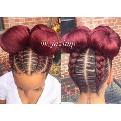 35 Absolutely Beautiful Feed In Braid Hairstyles - Part 23 Feed in braids are a popular protective style that's created with hair extensions which are fed into each braid starting near the roots of the hair. Feed In Braids Hairstyles, Girl Hairstyles, Braided Hairstyles, Black Hairstyles, Two Braids Hairstyle Black Women, Hairstyles Pictures, Braided Updo, Braid Buns, Feed In Braids Ponytail