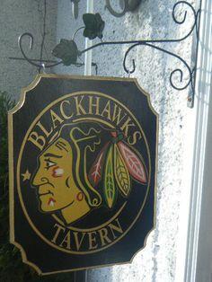 The Chicago Blackhawks Wooden Tavern Club or House Sign Blackhawks Hockey, Hockey Teams, Chicago Blackhawks, Hockey Stuff, Pub Signs, Home Signs, Hockey Baby, Hockey Room, Basement Bar Designs