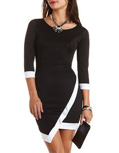 Color Block Asymmetrical Dress: Charlotte Russe something to look for the hem is interesting