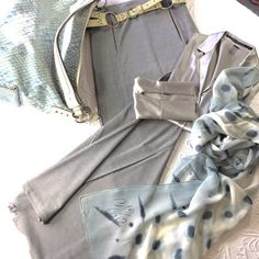 """Laundry by Sheli Segal  Stretchy Knit Maxi Light gray stretchy flowy awesome drape light silver gray knit maxi that can be worn for play or biz. 18"""" vent in back. Natural stretch waist no zip. Two slash pockets at each hip. Pre loved condition. Laundry by Shelli Segal Skirts Maxi"""