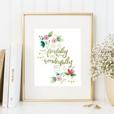 Nursery scripture print, 8x10, printable, Psalms 139, You are fearfully and wonderfully made, watercolor flowers, pink gold nursery $5