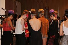 Models gathering around before show time @ Abbey Dawn #NYFW #Style360